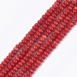 Jūrinis Bambukinis koralas (koralo imitacija) 4-5x2-3 mm., 1 gija raudonos spalvos