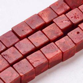 Koralo imitacija 10x10x10 mm. 4 vnt, 1 maišelis rudai raudonos spalvos