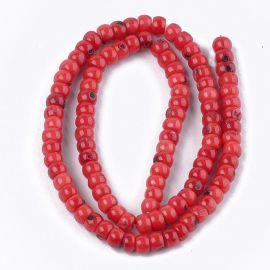 Jūrinis Bambukinis koralas (koralo imitacija) 6x3-4 mm., 1 gija raudonos spalvos