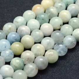 Natural Aquamarine beads 8 mm., 1 strand light blue