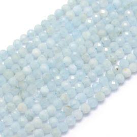 Natūralūs Akvamarino karoliukai 2-2,5 mm., 1 gija šviesiai žydros spalvos