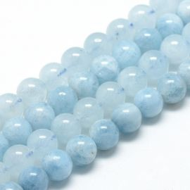Natural Aquamarine beads 7.5-8 mm., 1 strand light blue