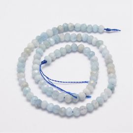 Natural Aquamarine beads 5.5-6x4 mm. 6 pcs, 1 bag