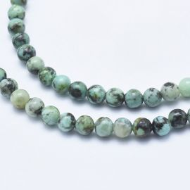Natural African Turquoise beads 4.5-5 mm., 1 strand green with black dots