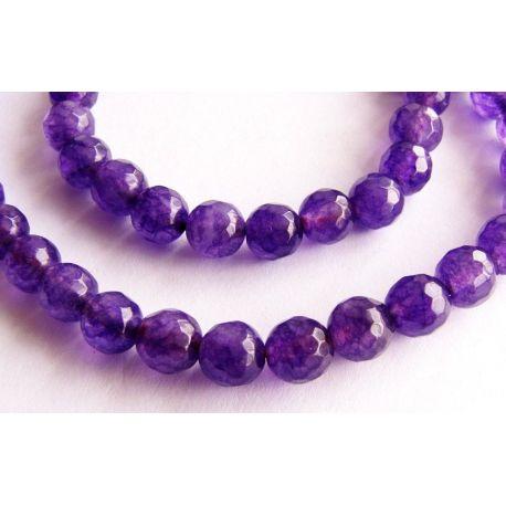 Ametisto karoliukai violetinės spalvos briaunuoti apvalios formos 6mm