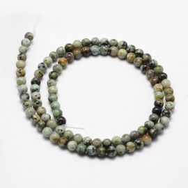Natural African Turquoise beads 10 mm., 1 strand green-gray-brown with black dots