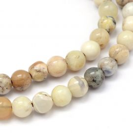 Natural African White Opal Beads 6 mm., 1 strand
