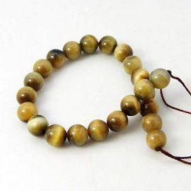 Natural beads of the Tiger Eye 10 mm., 1 strand dark yellow