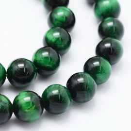 Natural Beads of the Tiger Eye 10 mm., 1 strand rich green