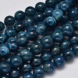 Натуральные бусины Апатито 89 мм., 1 нитка голубоватого цвета