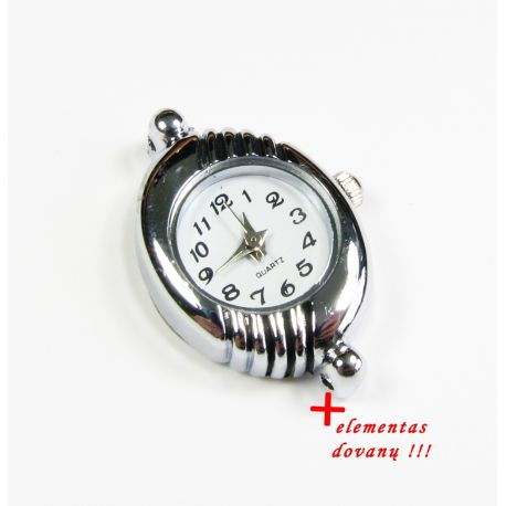 Mechanical clock with element, silver color 30x21 mm