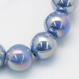Керамические бусины ручной работы 8 мм. 10 шт., 1 пакет голубоватого цвета