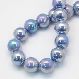 Handmade ceramic beads 8 mm. 10 pcs, 1 bag
