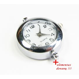 Mechanical clock with element, silver color 29x25 mm