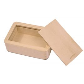 Wooden box with pull-out lid. Natural wood color
