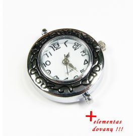Mechanical clock with element, silver color 29x26 mm