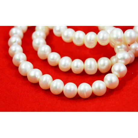 Freshwater pearls Class A, white, round shape 7-8 mm