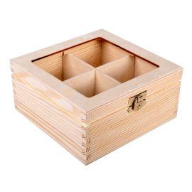 Medinė dėžutė arbatai 4 sk. su stiklu 16x16x8 cm