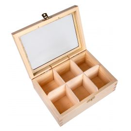 Natural wood box for tea with glass 4 compartment size 16x16x8 cm