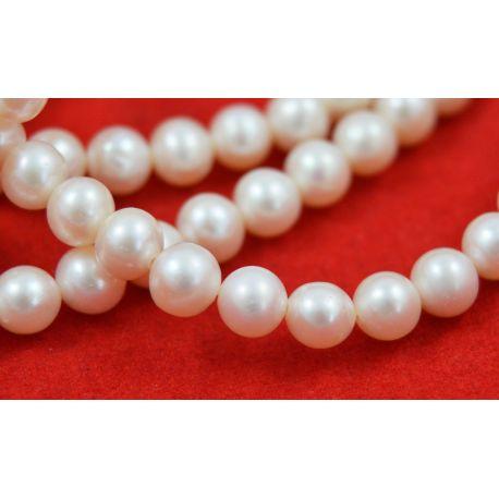 Saldūdens pērles AA klase, baltas, apaļas formas 8-9 mm