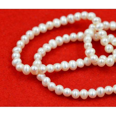 Saldūdens pērles, baltas, apaļas formas 3,5-4 mm
