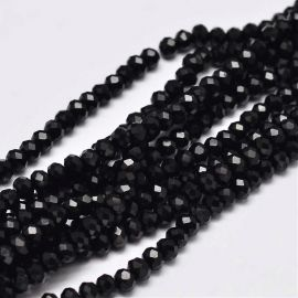 Glass beads 3x2 mm., 1 strand for keys in black