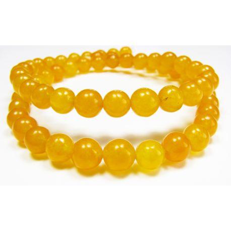 Stone beads yellow-orange, round shape 6 mm