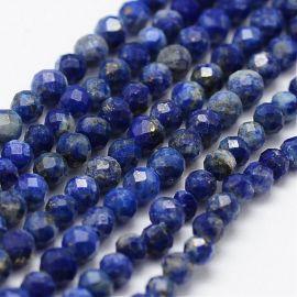 Natūralūs Lapis Lazuli karoliukai 2 mm., 1 gija