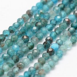 Natural Apatito beads 2 mm., 1 strand for keys in bluish color