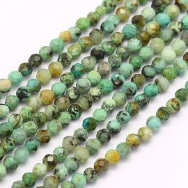 Natural African Turquoise beads 3.5 mm., 1 strand for keys greenish-bluish with black inclusions