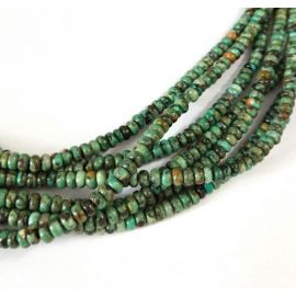 Natural African Turquoise Beads 4x2.5 mm., 1 strand for key-blue greenish with beige inclusions