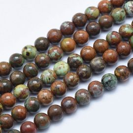 Natural Green Opal beads 8 mm., 1 strand for keys green-brown