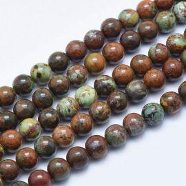Natūralūs Žaliojo Opalo karoliukai 8 mm., 1 gija rakndarbiams žalios-rudos spalvos