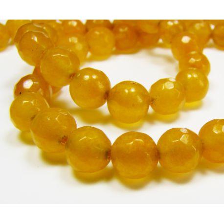 Akmeniniai karoliukai geltonai oranžinės spalvos, briaunuoti, apvalios formos 5-6 mm