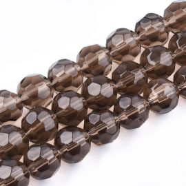 Glass beads 10 mm., 1 strand for keys brown