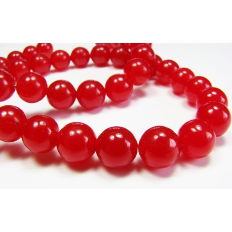 Ruby beads bright red round shape 8mn