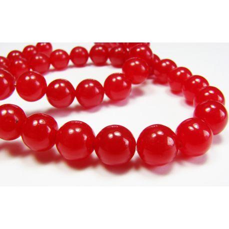 Rubīna krelles spilgti sarkanas apaļas formas 8mn
