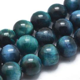 Natūralūs Tigro Akies karoliukai 8,5 mm., 1 gija rakndarbiams mėlynos spalvos