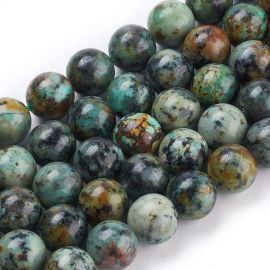 Natural African Turquoise beads 10.5 mm., 1 strand for key-black