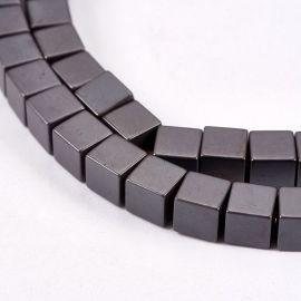 Бусины синтетический гематит 4х4 мм., 1 нитка для ключей тёмно-серый