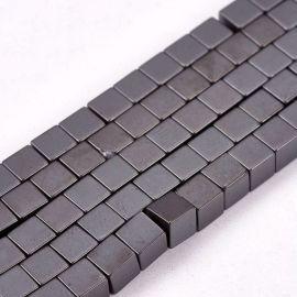 Synthetic Hematite beads 4x4 mm., 1 strand