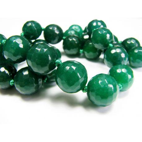 Emeraldo karoliukai tamsiai žalios spalvos, apvalios formos, briaunuoti, 12 mm