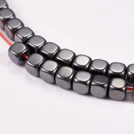 Synthetic Hematite 3x3x3 mm., 1 strand for keys in grey
