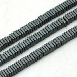 Гематит синтетический 3х1 мм. ~ 50 шт., 1 сумка для ключей серого цвета