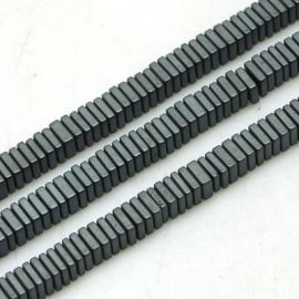 Synthetic Hematite 3x1 mm. ~50 pcs., 1 bag for keys in gray