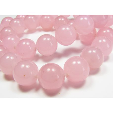 Rožinio kvarco karoliukai, šviesiai rožinės spalvos, apvalios formos 10 mm