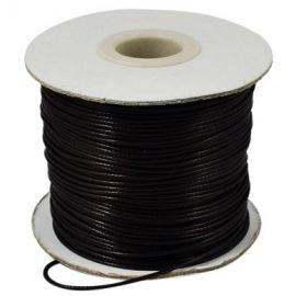 Waxed polyester cord 0.80 mm., 1 meter for keys in black