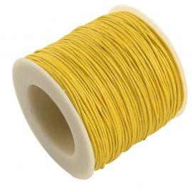 Vaškuota medvilninė virvutė 1.00 mm., 1 metras rakndarbiams geltonos spalvos