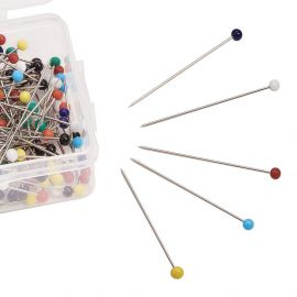 Smeigtukai - adatėlės su akriliniu burbuliuku 37 mm. ~250 vnt., 1 dėžutė rakndarbiams įvairių spalvų