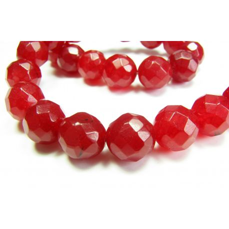 Ruby beads red, ribbed, round shape 12 mm